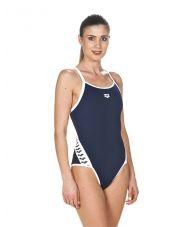 купальник спортивный ж TEAM STRIPE SUPER FLY BACK navy-white