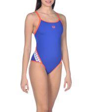 купальник спортивный ж TEAM STRIPE SUPER FLY BACK neon blue-nectarine